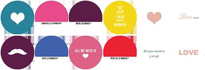 Idées badges mariage