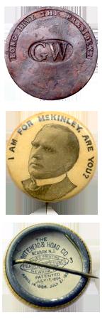 Badge pour l'élection de George Washington - Badge pour la campagne présidentielle de McKinley