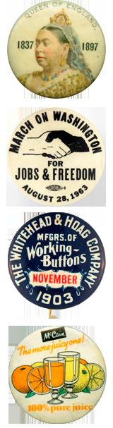 Divers badges historiques et publicitaires